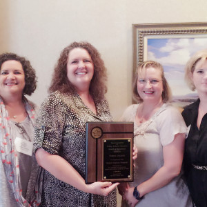 Shown here accepting the 2017 Award of Excellence from the Texas Association of College Technical Educators are (l-r) Andrea Maddux, professor of dental hygiene; Melissa Machalek, department chair; Corine Correa, dental hygiene instructor; and Shelley Pearson, associate vice president for health professions.
