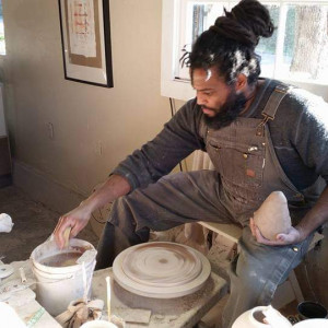 Ro Shaw works in his clay studio in Salado.