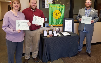 English faculty members who are among the founding members of the new Temple College chapter of Sigma Kappa Delta include (l-r) Kimberly George, Nick Kocurek and Dr. Christopher Krejci,