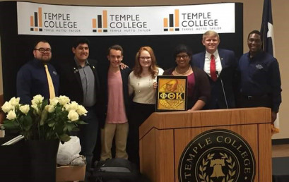 New PTK officers Daniel Bryson, Erin Mendenhall, Renee Lockwood and Brian Bass are shown in this picture along with former president Darnell Wilson (right) and two representatives from Alpha Gamma Pi at Austin Community College.