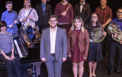 Photo cutline: Temple College students who have been selected to perform with 2019 All-State music ensembles include: Front row (l-r): Nan Cryar (piano), Greg Madrid (bass), Alondra Salazar (soprano), Idalia Medina (horn), Deon Byrd (euphonium) and Shelby Avants (bassoon). Back row (l-r): Zach Zajicek (percussion), Kennedy Hogan (clarinet), Juan Morales (tenor), Braedon Avants (percussion) and Adam Anderson (tenor). Not pictured are Alex Alvarado and Damond Portillo.