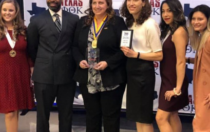 Theresa Anthony (center) poses with other members of the Temple College PTK chapter after the chapter earned the award for Most Improved Chapter in Texas in 2020. Anthony served as president of the chapter in 2019-2020.