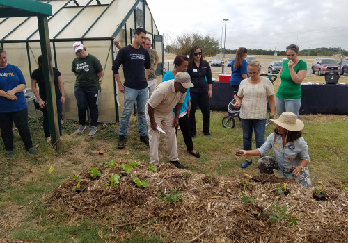 Marjorie Gillmeister from the Bell County Master Gardeners explains the planting process to volun...