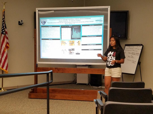Killeen High School student Alyssa Cabading explains the summer research project she worked on wi...