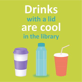 Drinks with a lid are cool in the library.