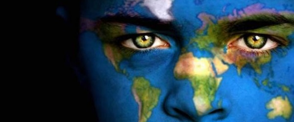 Face painted with world map